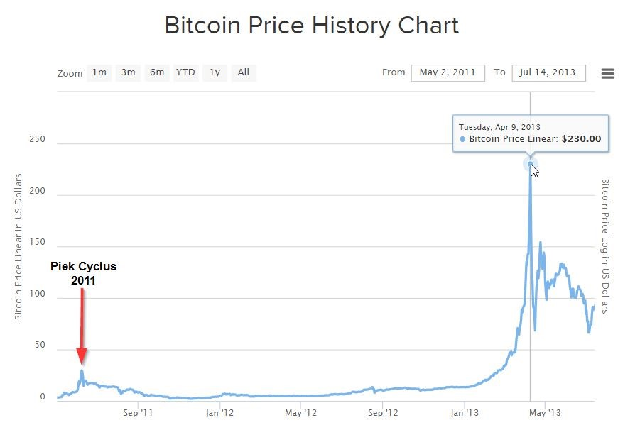 Bitcoin koers begin 2013